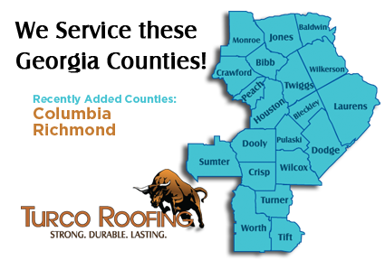 Turco Roofing services all of Middle Georgia Counties